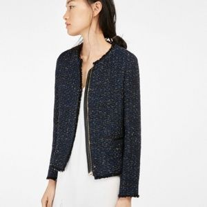 Massimo Dutti Tweed Frayed Blazer Zip Collar-less